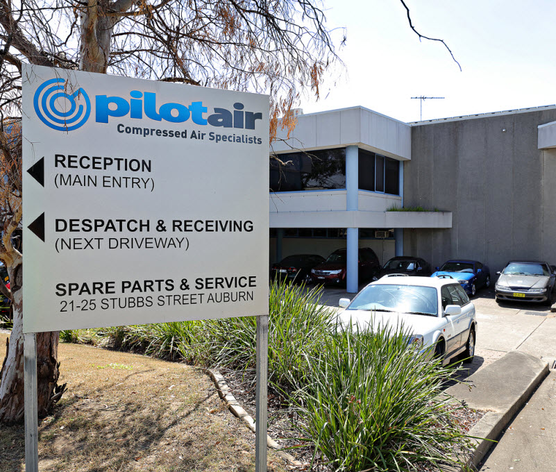Sign board of Pilot air outside its building