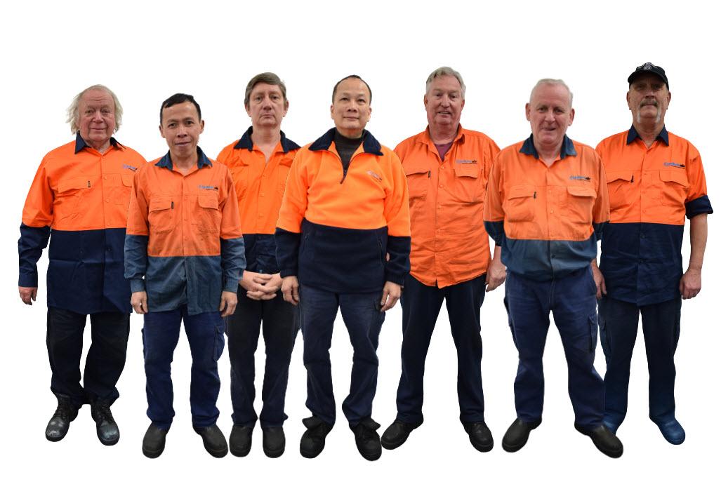 Team wearing orange uniforms