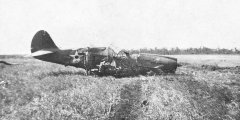 Old photo of a plane crash