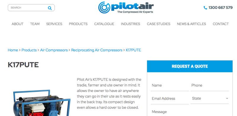Pilot Air website